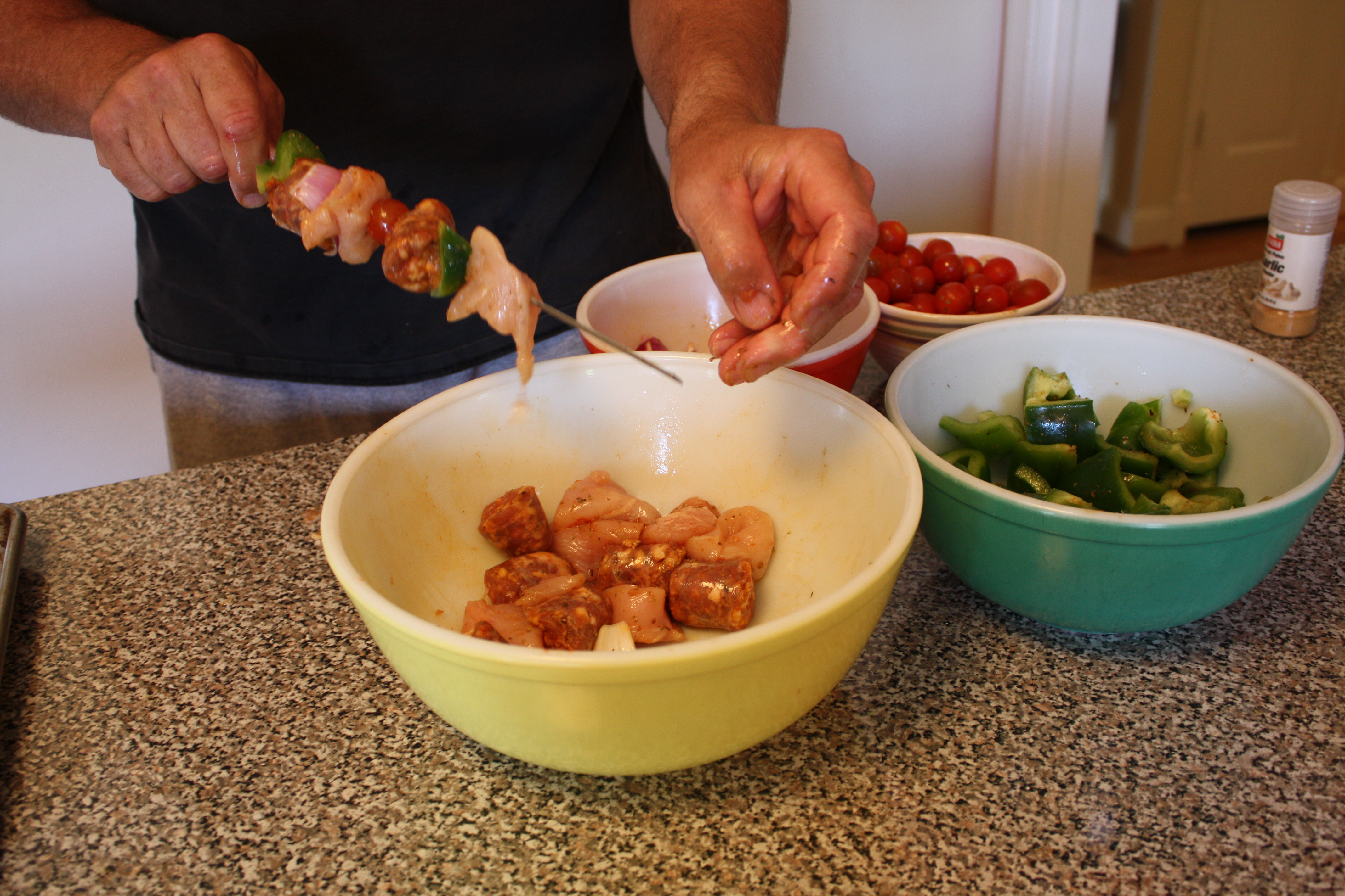 adouille and chicken kabobs with creole mustard sauce cocoscuisine